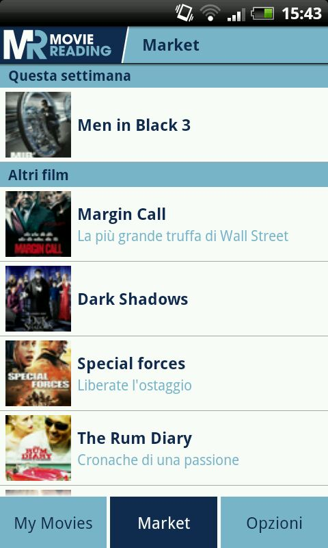 Screenshot dell'App Moviereading