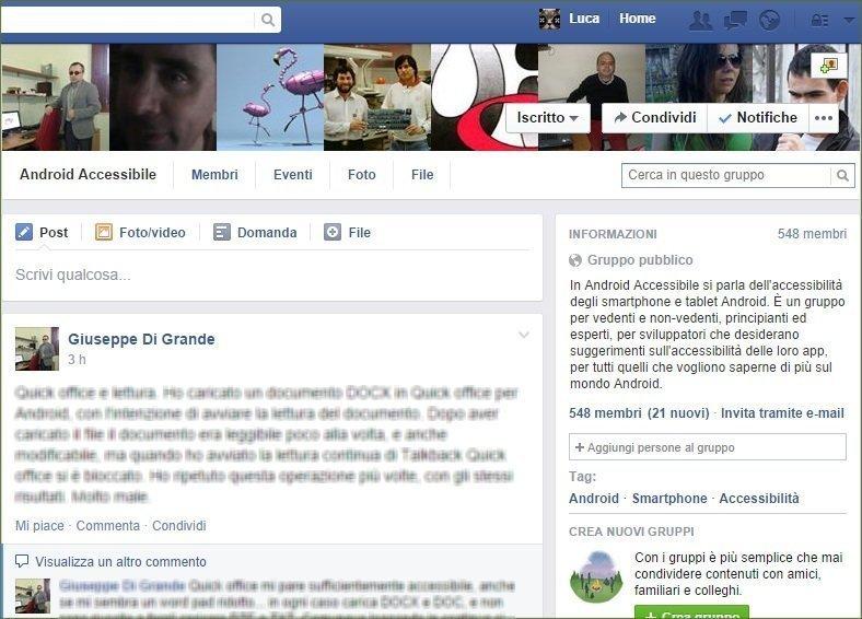 Schermata del Gruppo Facebook Android accessibile