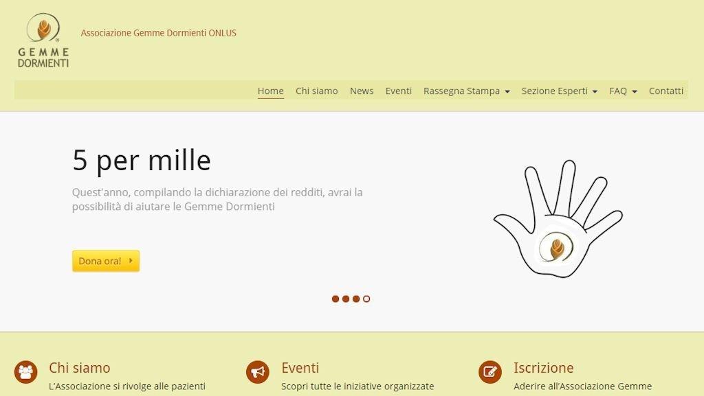 Screenshot del sito di Gemme Dormienti ONLUS