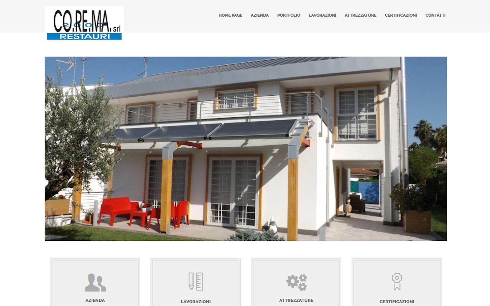 Home page del sito di Corema Restauri 2000