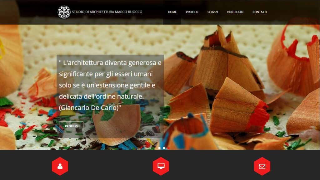 Screenshot nuovo sito web dello Studio di Architettura Marco Ruocco