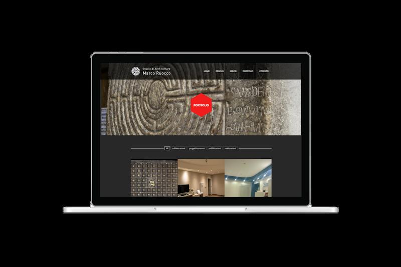 Web design - Sito web dello Studio di Architettura Marco Ruocco su pc portatile