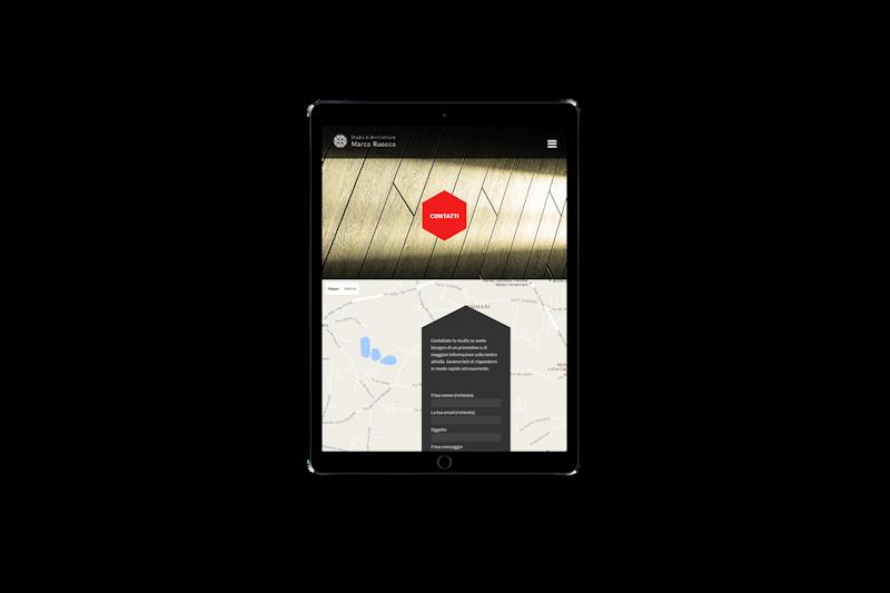 Web design - Sito web dello Studio di Architettura Marco Ruocco su tablet