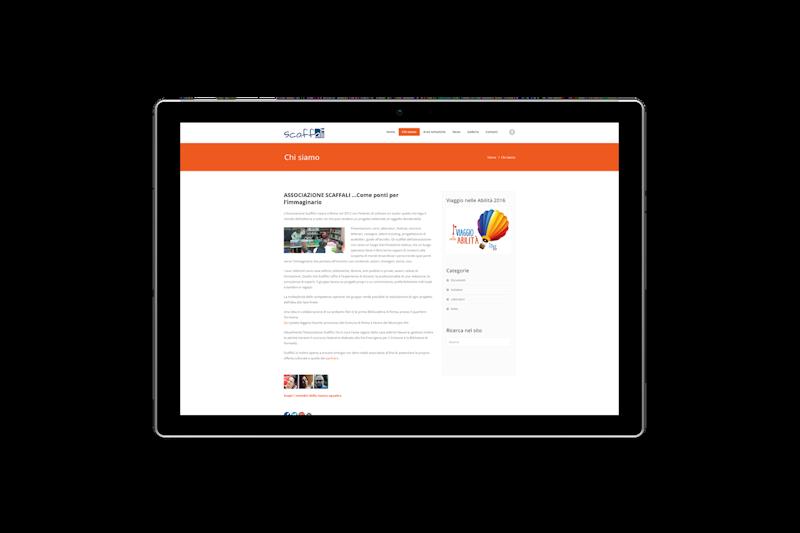 Web design - Sito web dell'Associazione Culturale ScaffALI su tablet