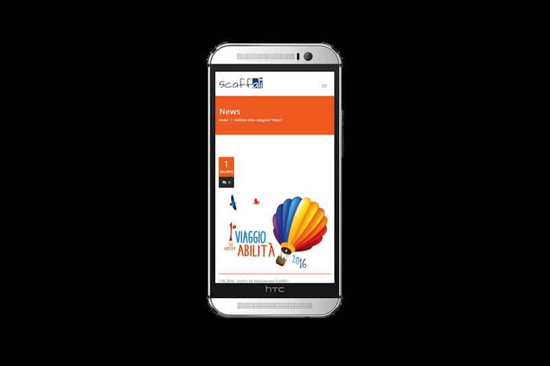 Web design - Sito web dell'Associazione Culturale ScaffALI su smartphone