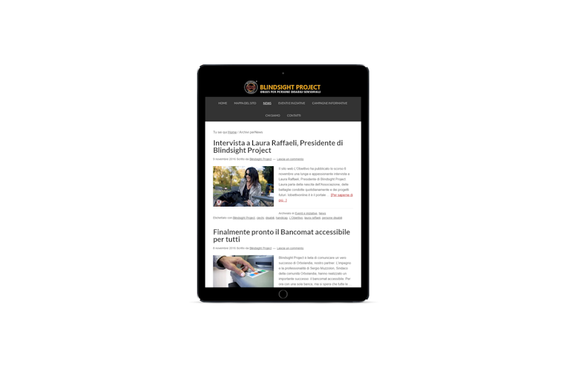 Web design - Sito web di Blindsight Project su tablet