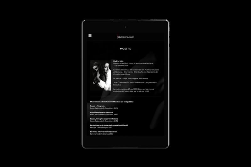 Webdesign - Sito web di Gabriele Morrione su tablet