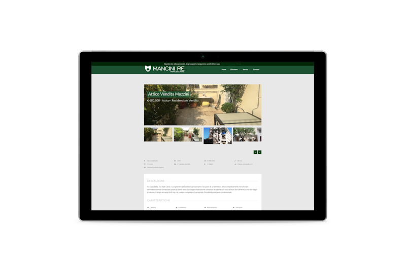 Webdesign - Sito web di Mancini RE Immobiliare su tablet
