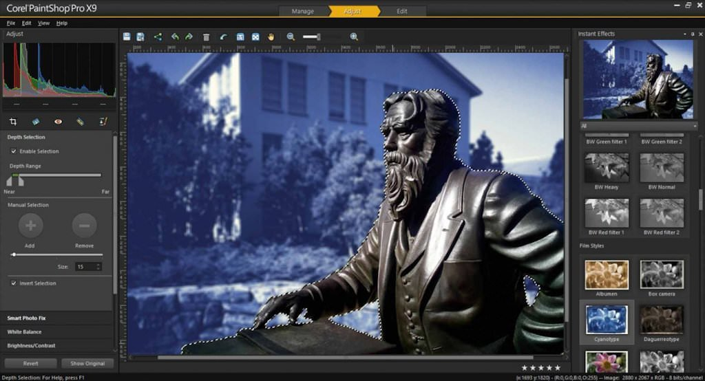Screenshot di Corel Paintshop Pro X9