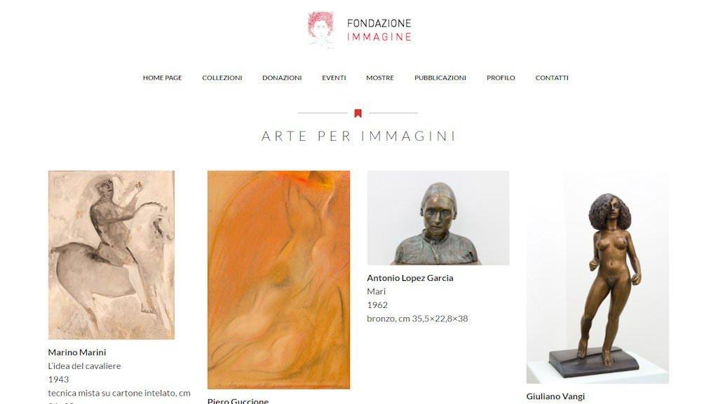 Screenshot del sito della Fondazione Immagine di Alfredo e Teresita Paglione