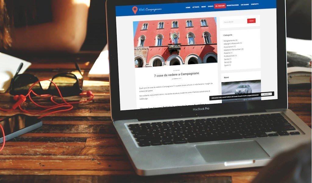 Screenshot del sito web Vivi Campagnano
