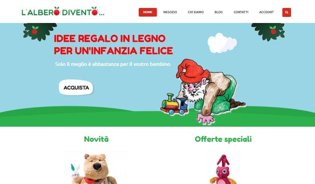 Screenshot del sito web ecommerce de L'Albero Diventò