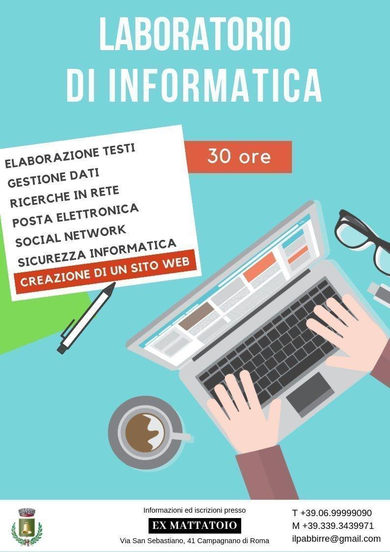 Locandina del laboratorio di informatica organizzato da Pselion a Campagnano di Roma