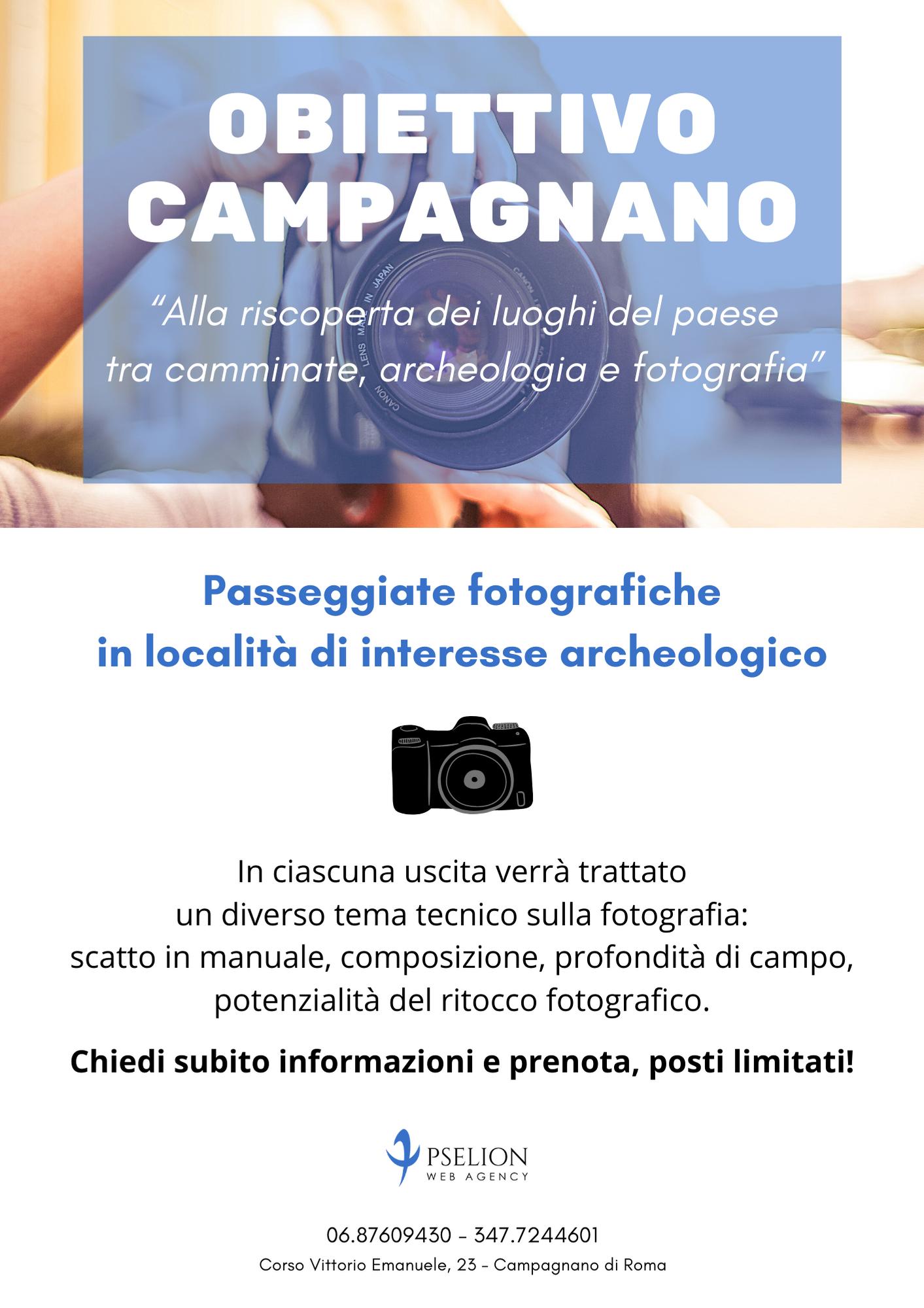 Locandina Passeggiate fotografiche a Campagnano di Roma organizzate da Pselion Web Agency